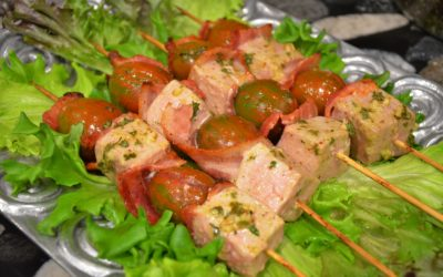 Tuna, Bacon & Tomato Kebabs
